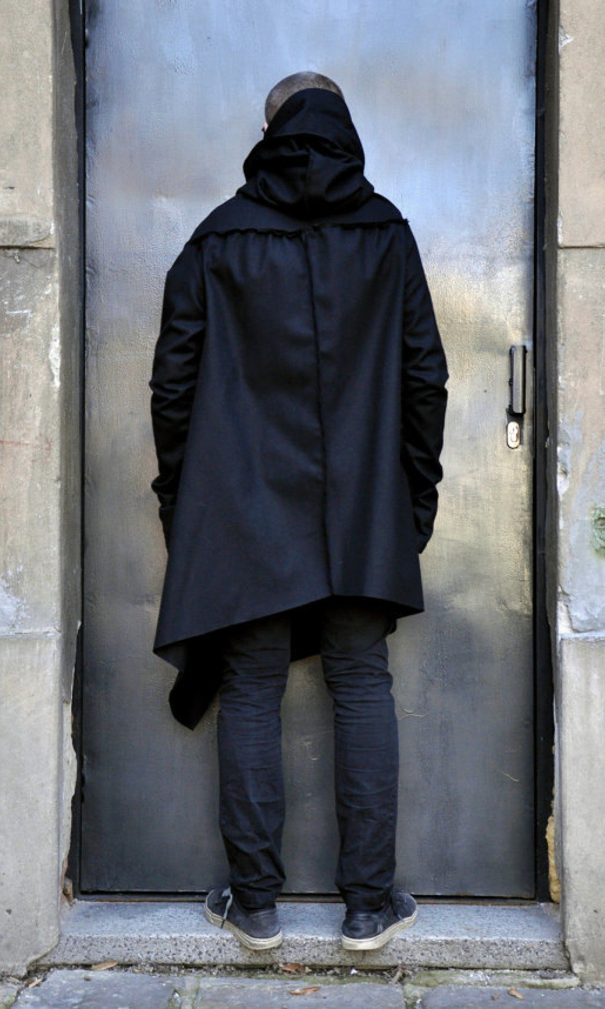 Black Hooded Cashmere Coat A07113