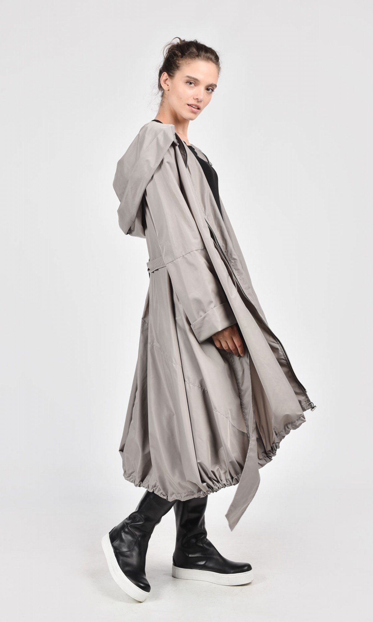 Hooded Raincoat with Belt
