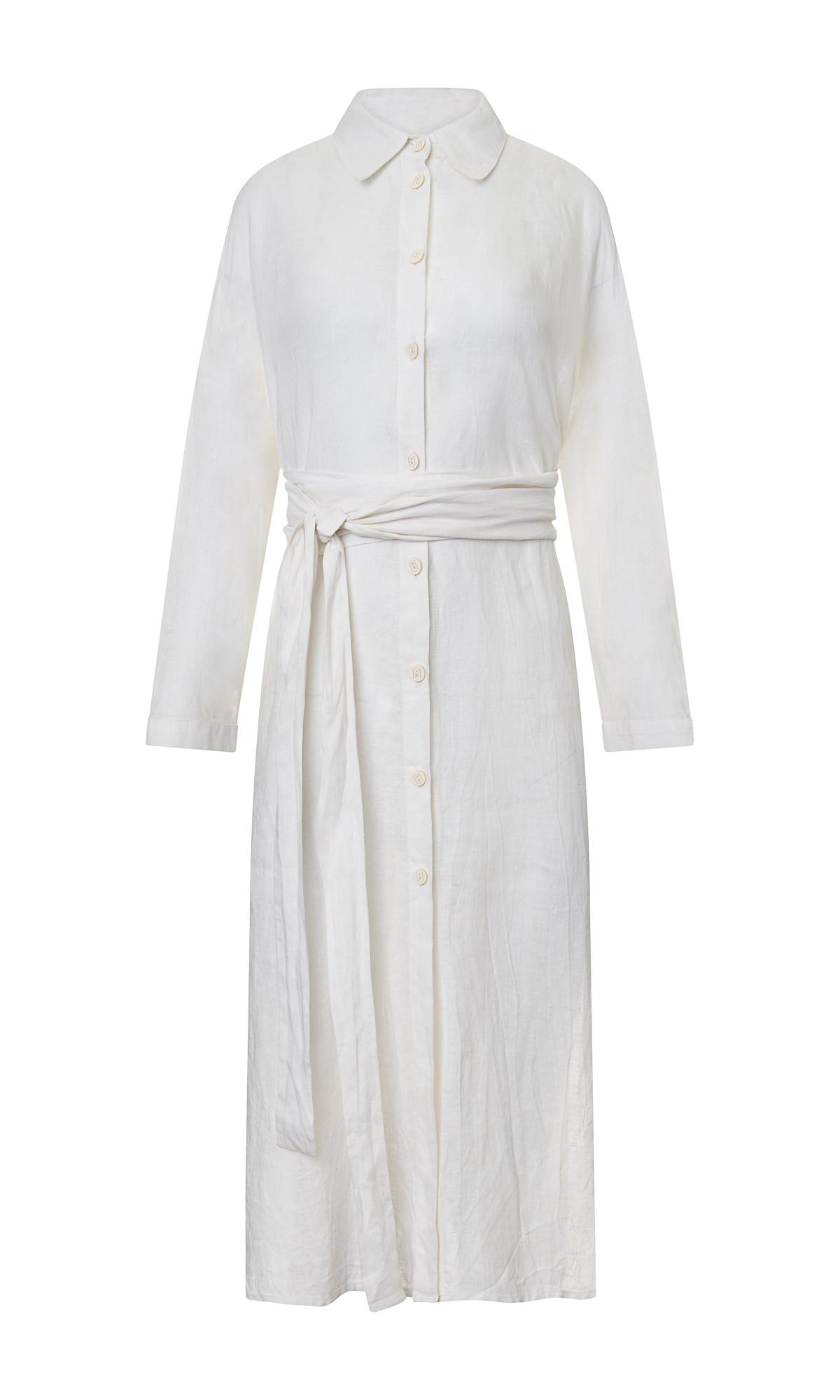 Linen Kimono Shirt Dress