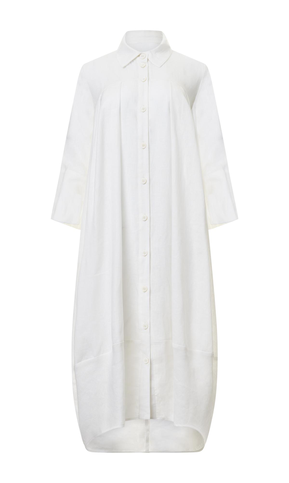 Balloon Linen Shirt Dress