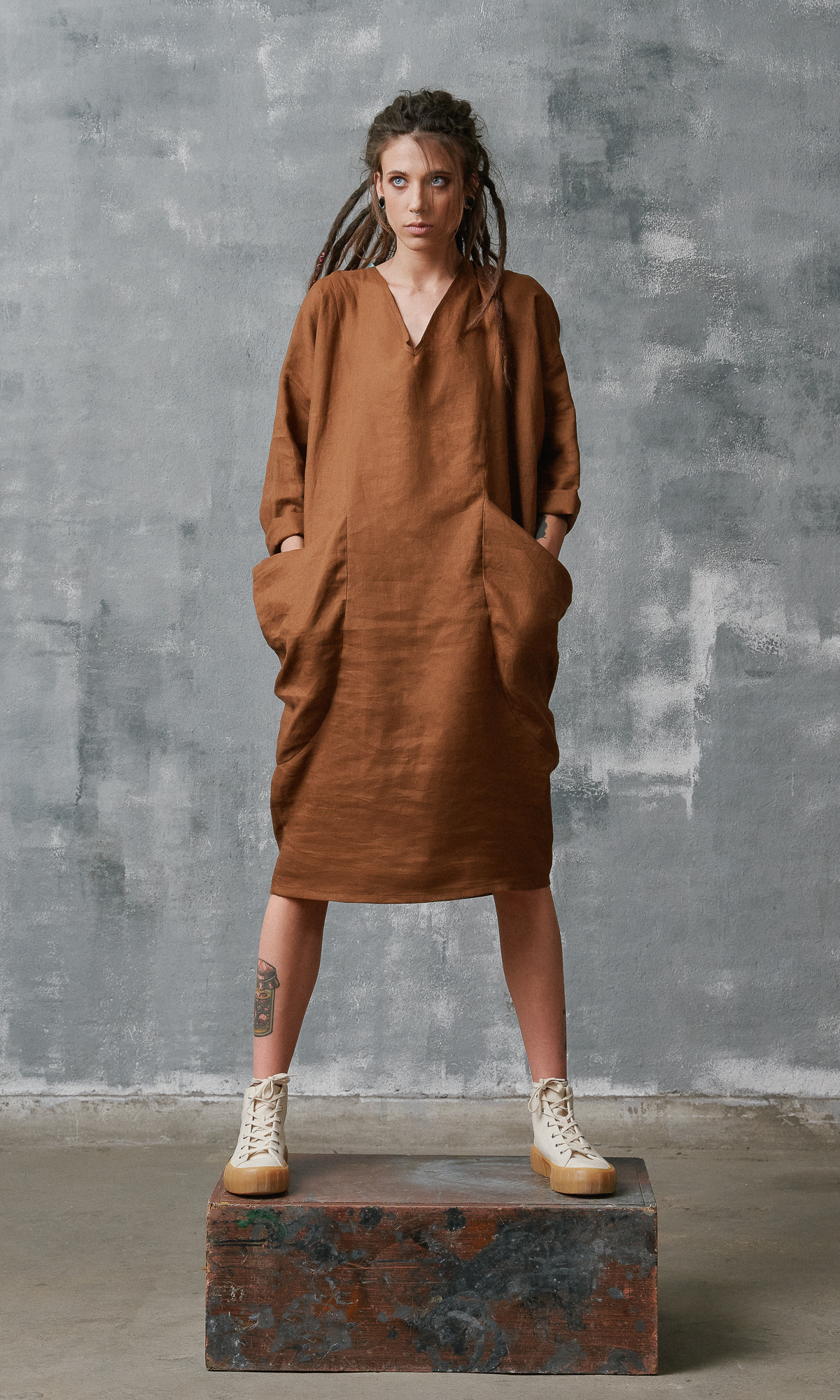Midi Linen Dress with Large Pockets