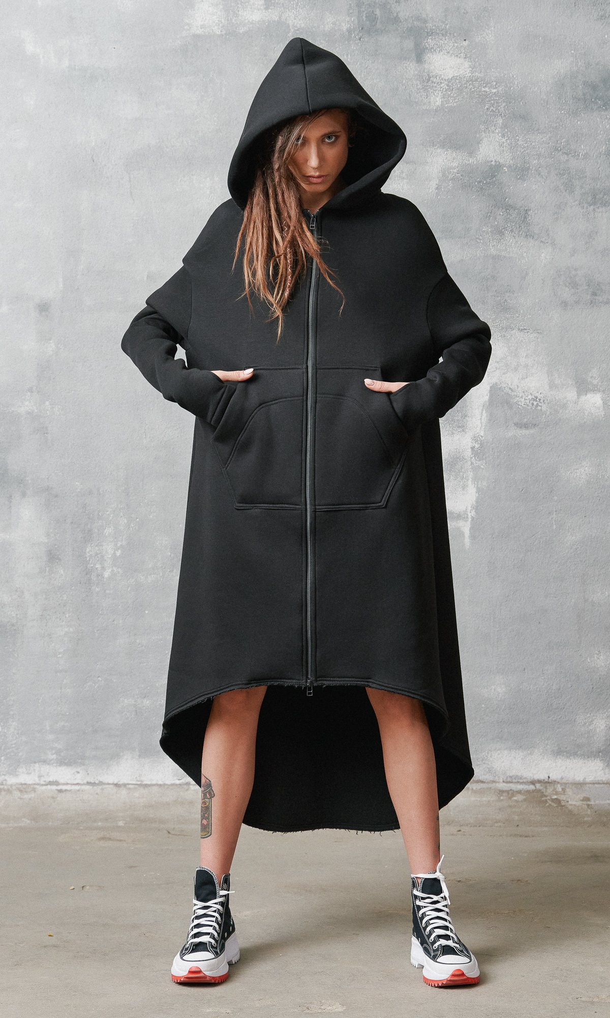 Extra Long Zippered Hoodie