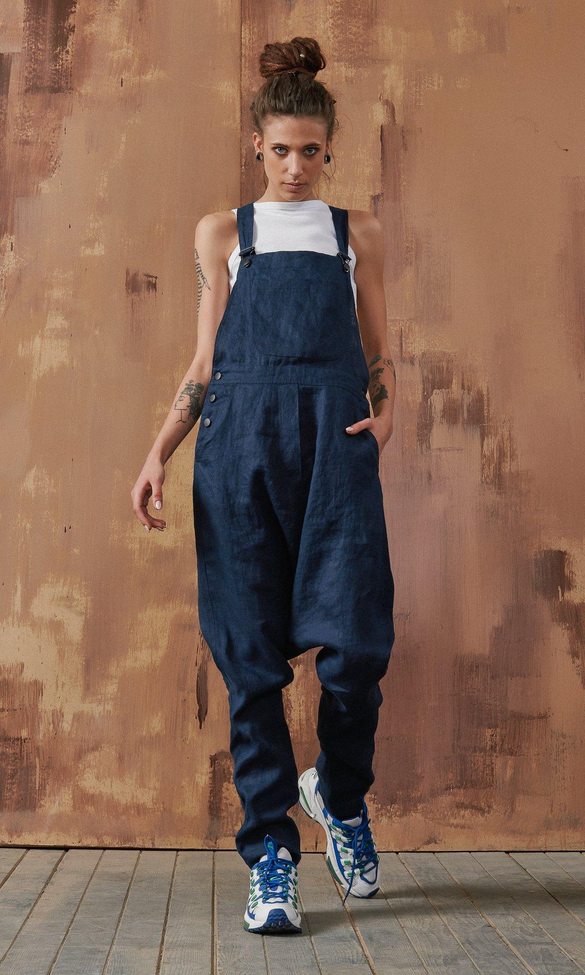 Linen Drop Crotch Overall