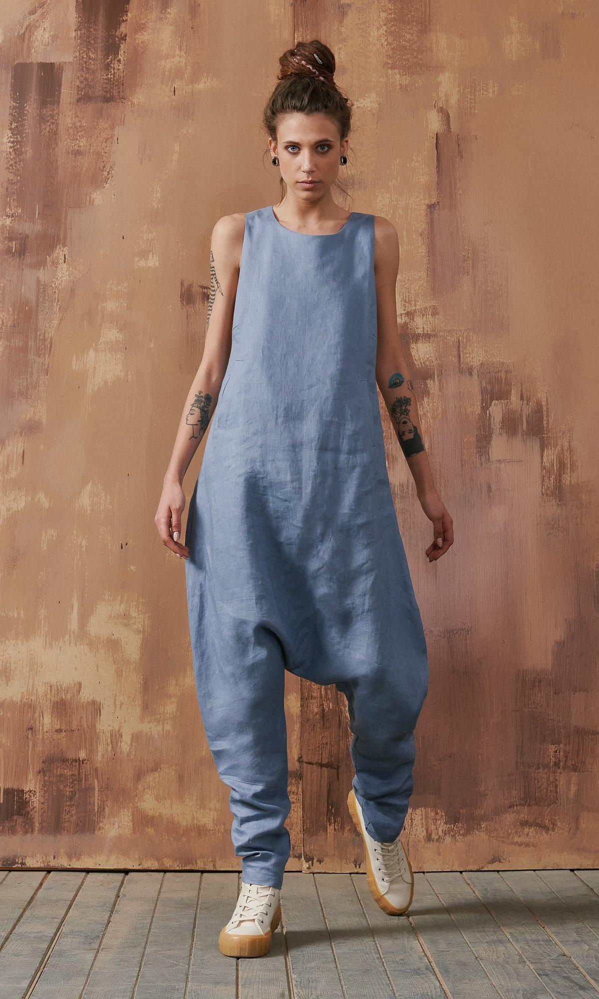 Linen Drop Crotch Jumpsuit