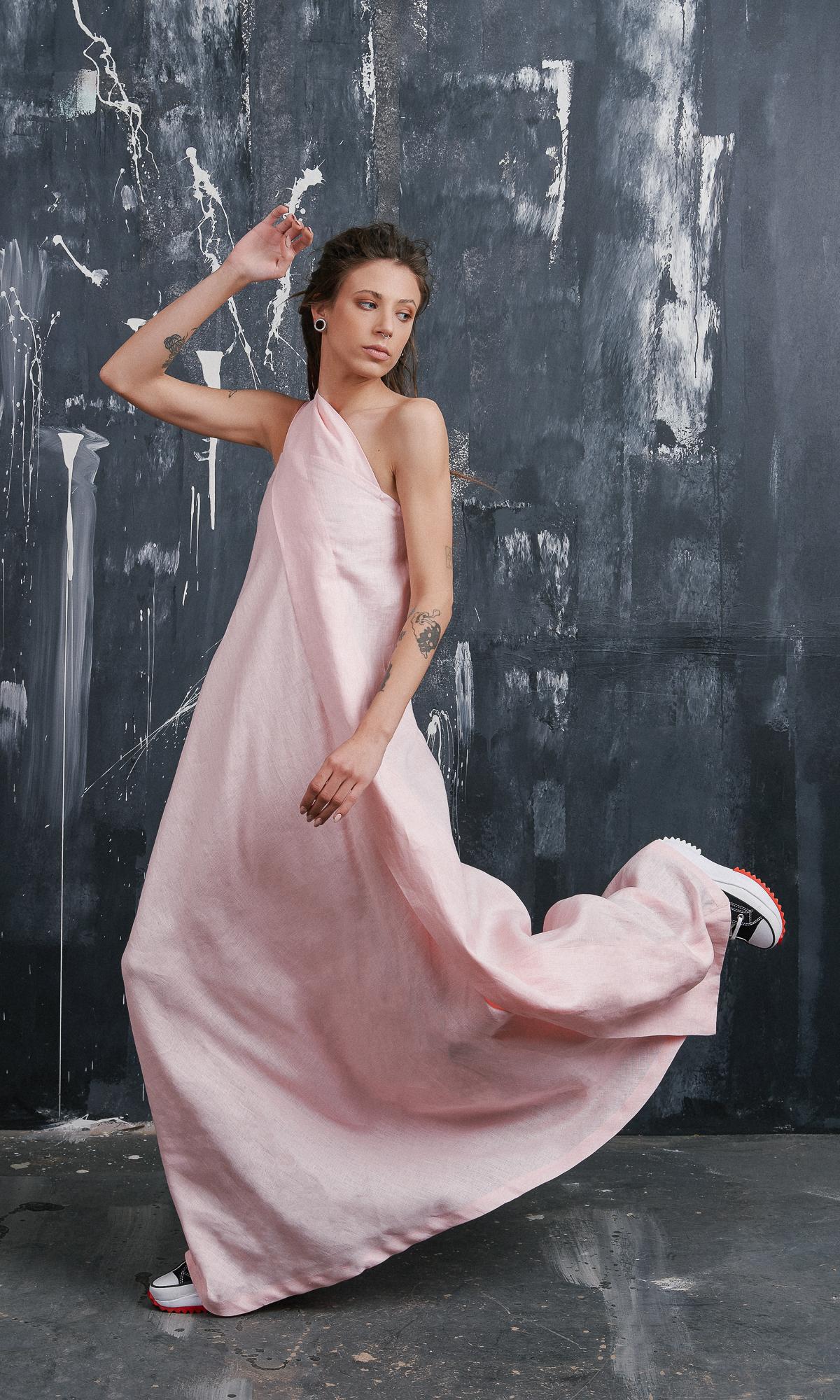 One Shoulder Maxi Linen Dress