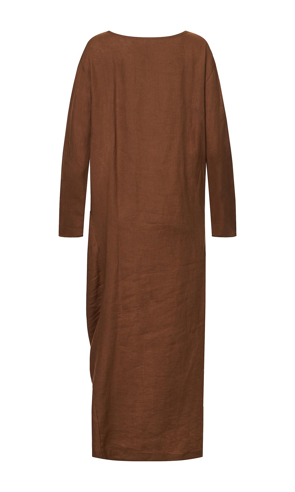 Draped Linen Maxi Dress
