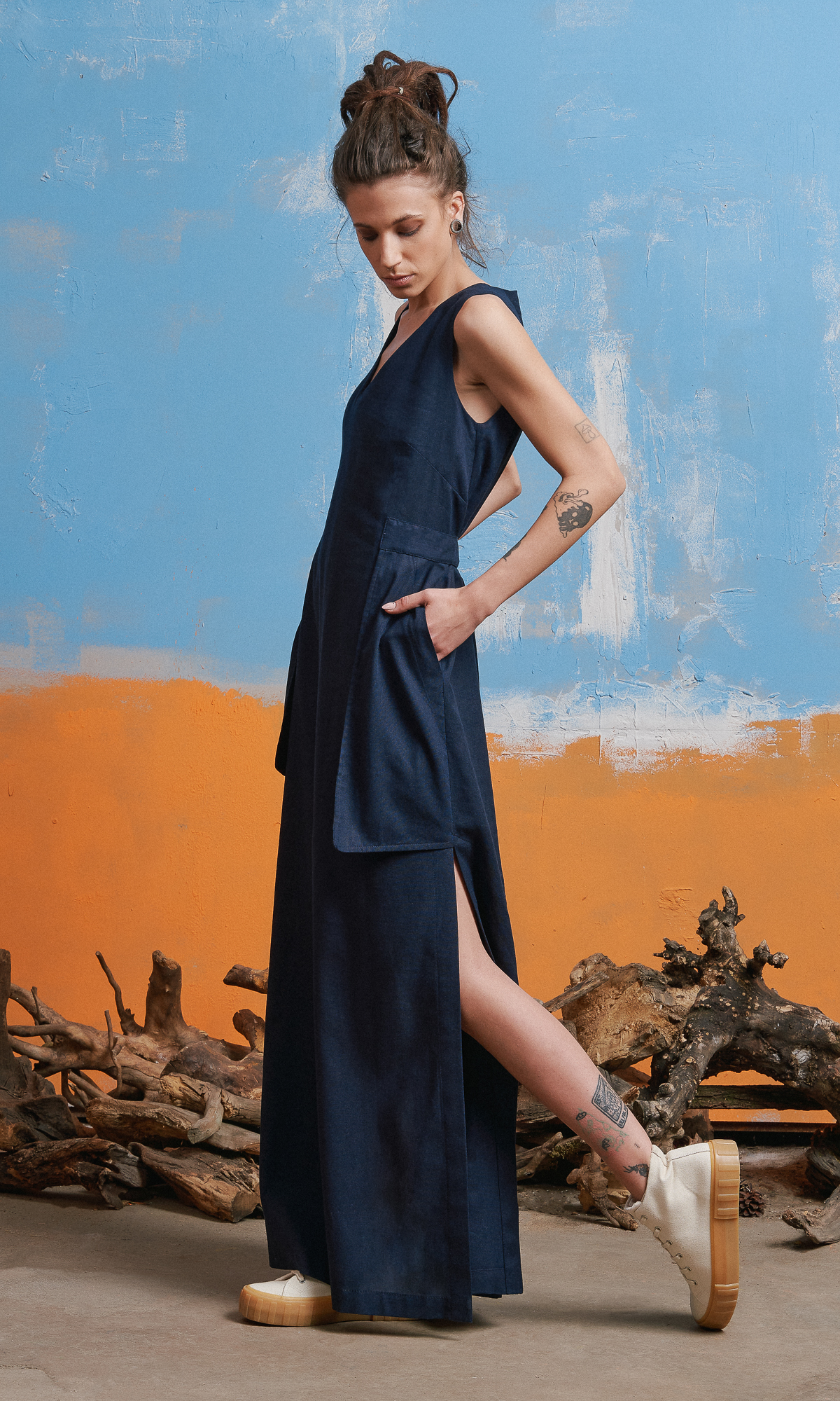 Sleeveless Linen Dress with Large Pockets