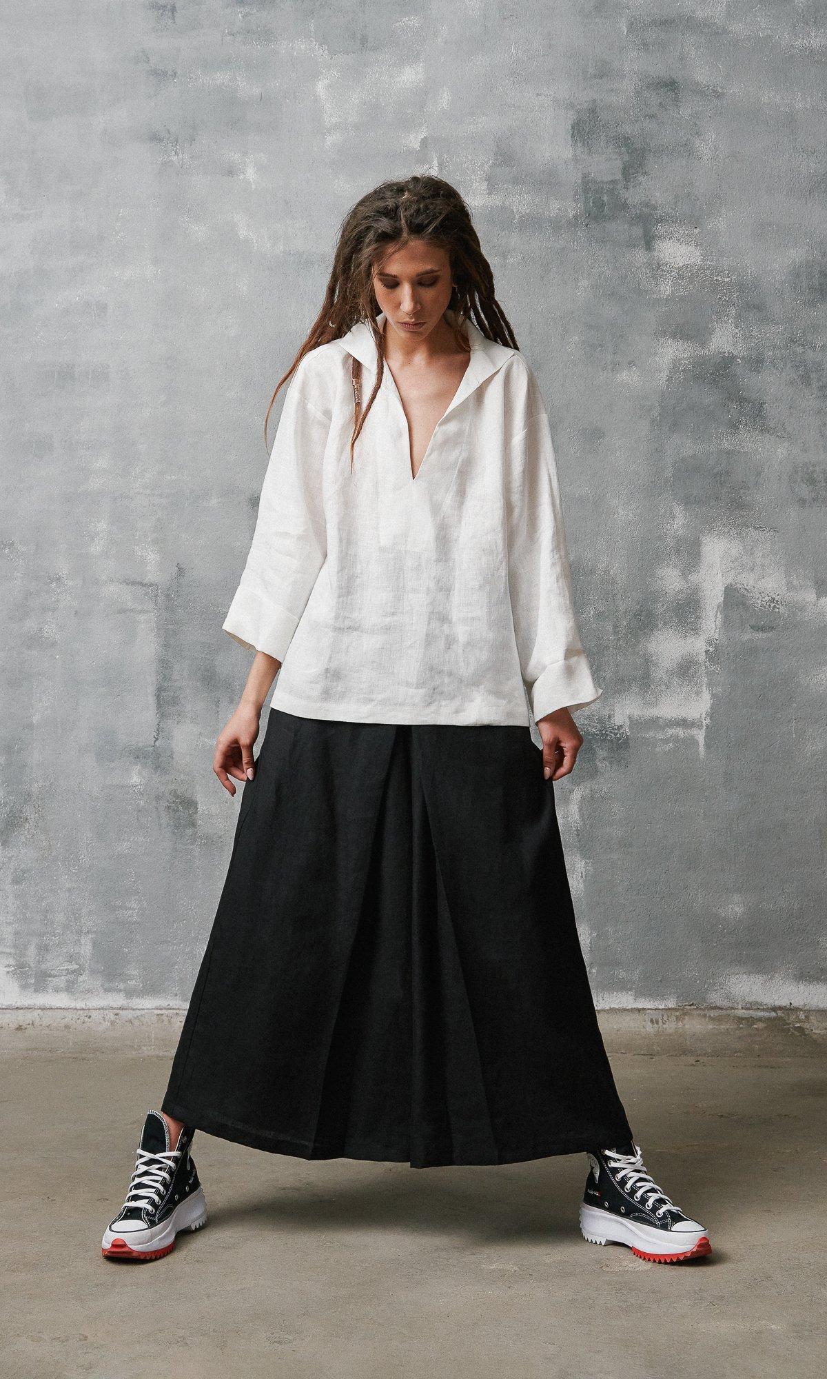 Inverted Pleat Linen Skirt Pants