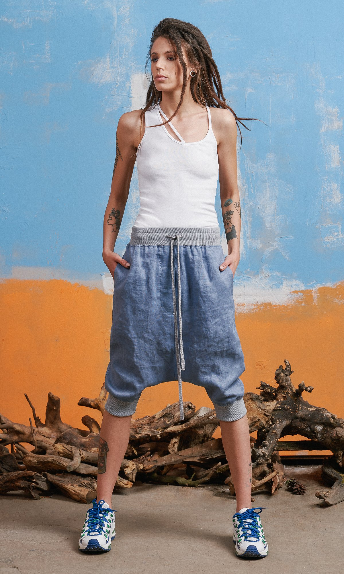 Linen Drop Crotch Jogger Pants