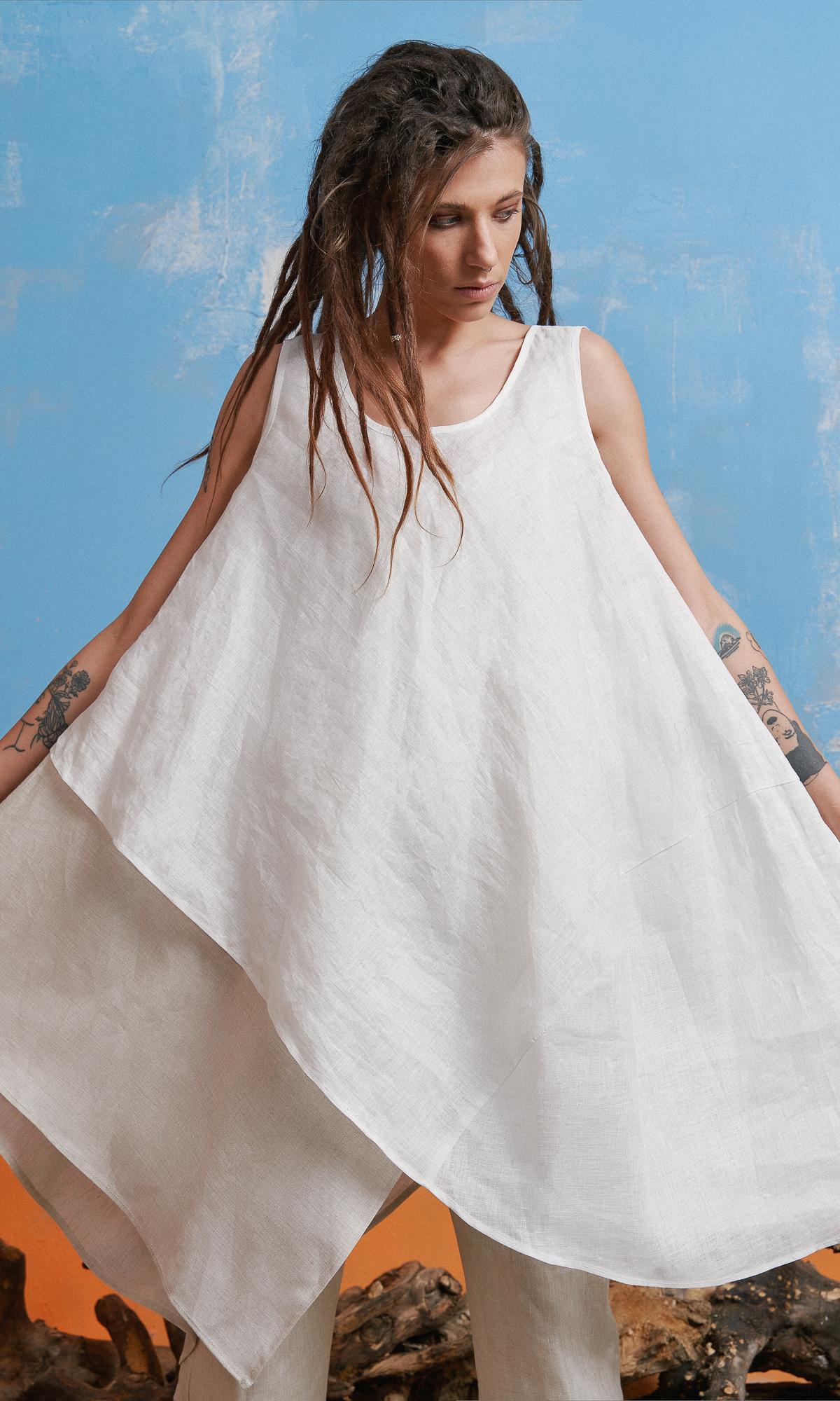 Layered Sleeveless Linen Tunic