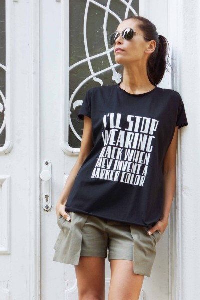 "Black cotton ""I'll stop wearing black"" T-shirt A224000330"