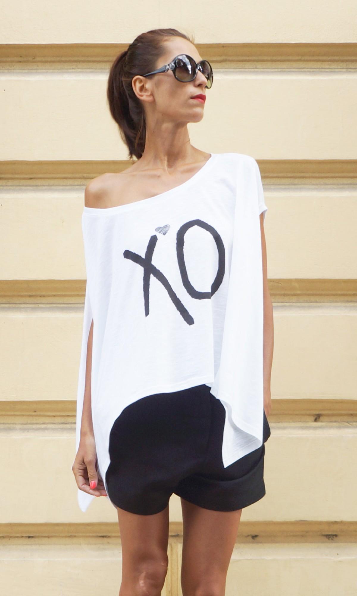XO Print Loose white tunic  A124510334