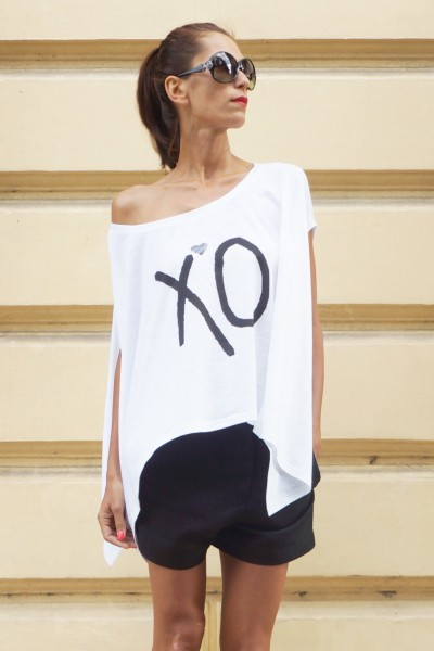 XO Print Loose white tunic  A124510334