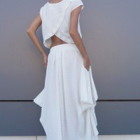 Extravagant Loose Off White Skirt A09467