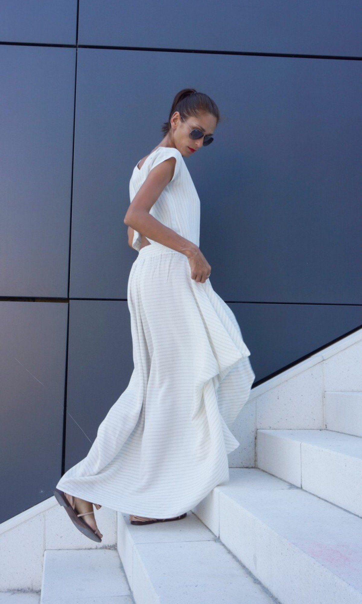 Loose Off White Skirt