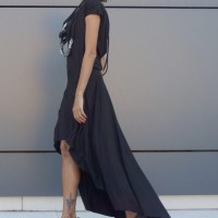 Dresses - High Low Black Maxi Dress A03474