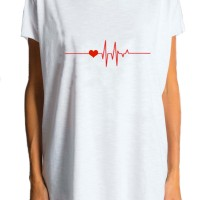 White T-shirt Heartbeat A224000141