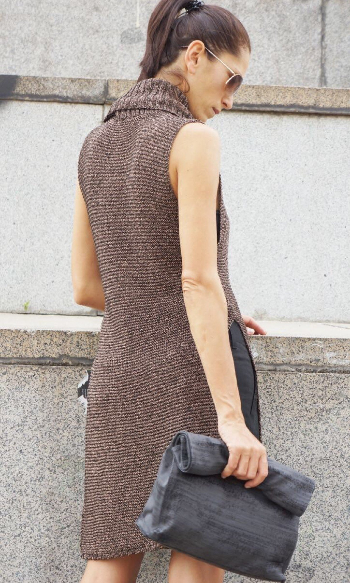Brown High Collar Knit Dress with Side Slits A02329