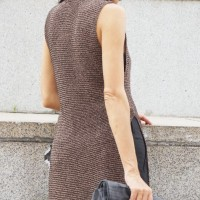 Brown High Collar Knit Dress with Side Slits