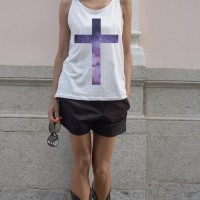 Cute White Top with Star Cross