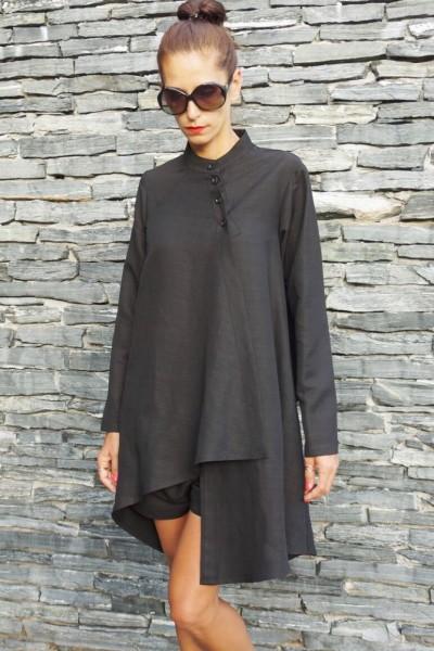 Extravagant Asymmetrical Buttoned Shirt A11477