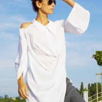 Extravagant White Open Shoulders Shirt A11438