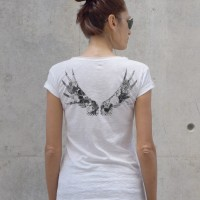 Printees - White Cotton Flower wings T-shirt A224330349