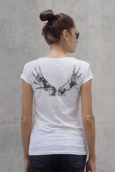 White Cotton Flower wings T-shirt A224330349