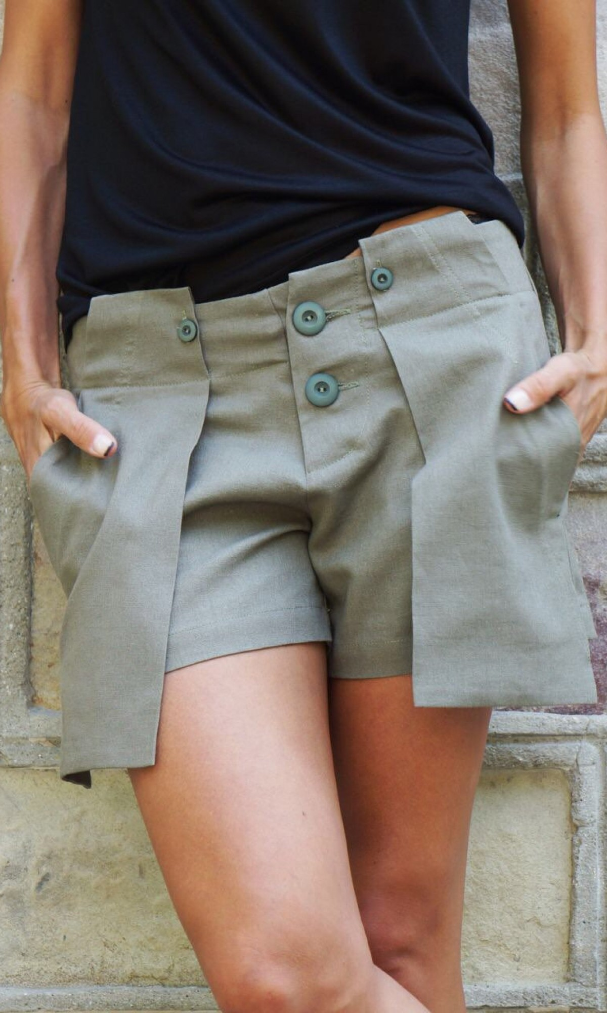 Pants - Olive Green Linen Pants with Large Pockets A05434