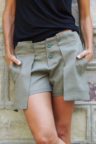 Olive Green Linen Pants with Large Pockets A05434