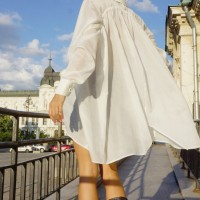 Shirts - White Loose Asymmetric Shirt A11208