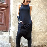 Loose Casual Black Harem Pants A05463