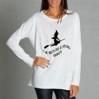 Cream Halloween Print T-shirt