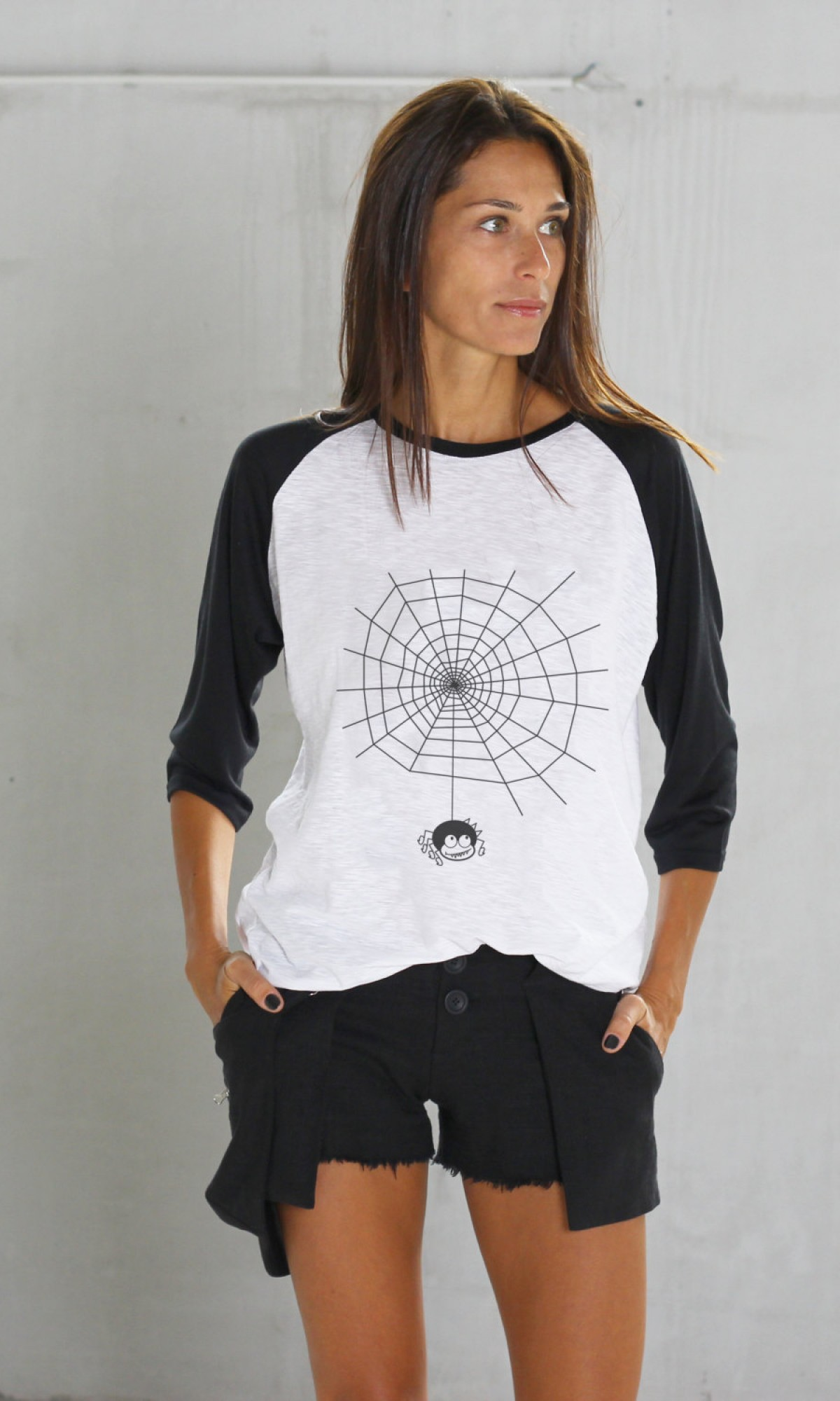Halloween Black and White Print T-shirt A224010356