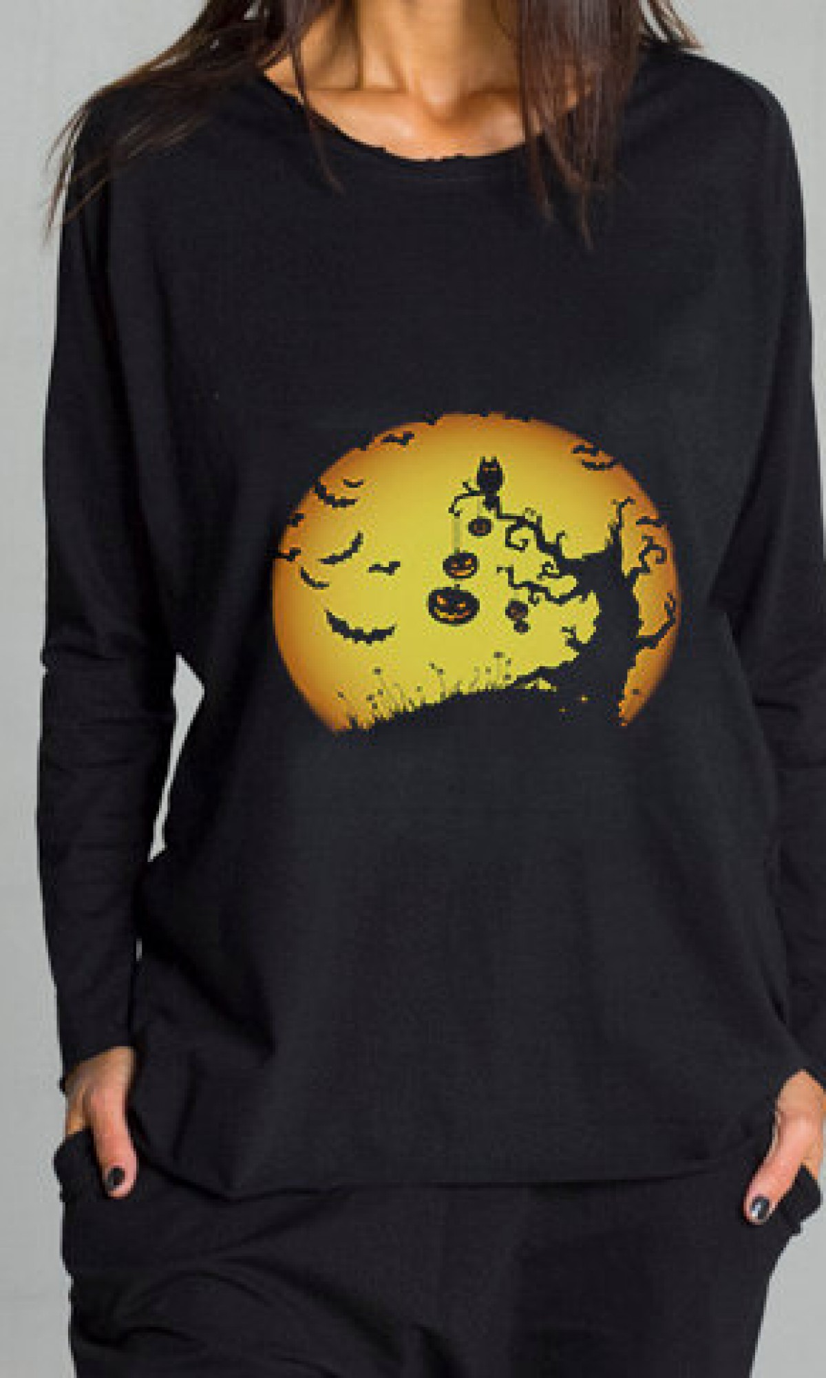 Halloween Moon Print T-shirt