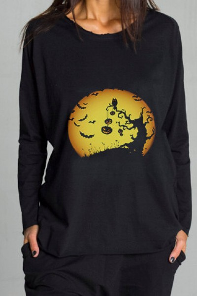 Black Halloween Moon Print T-shirt A224000359