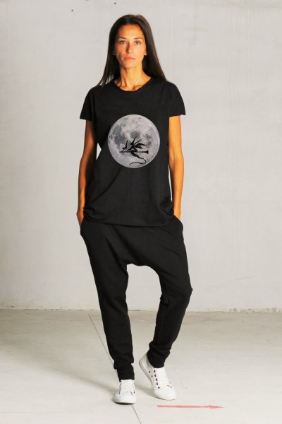 Black Short Halloween Print T-shirt