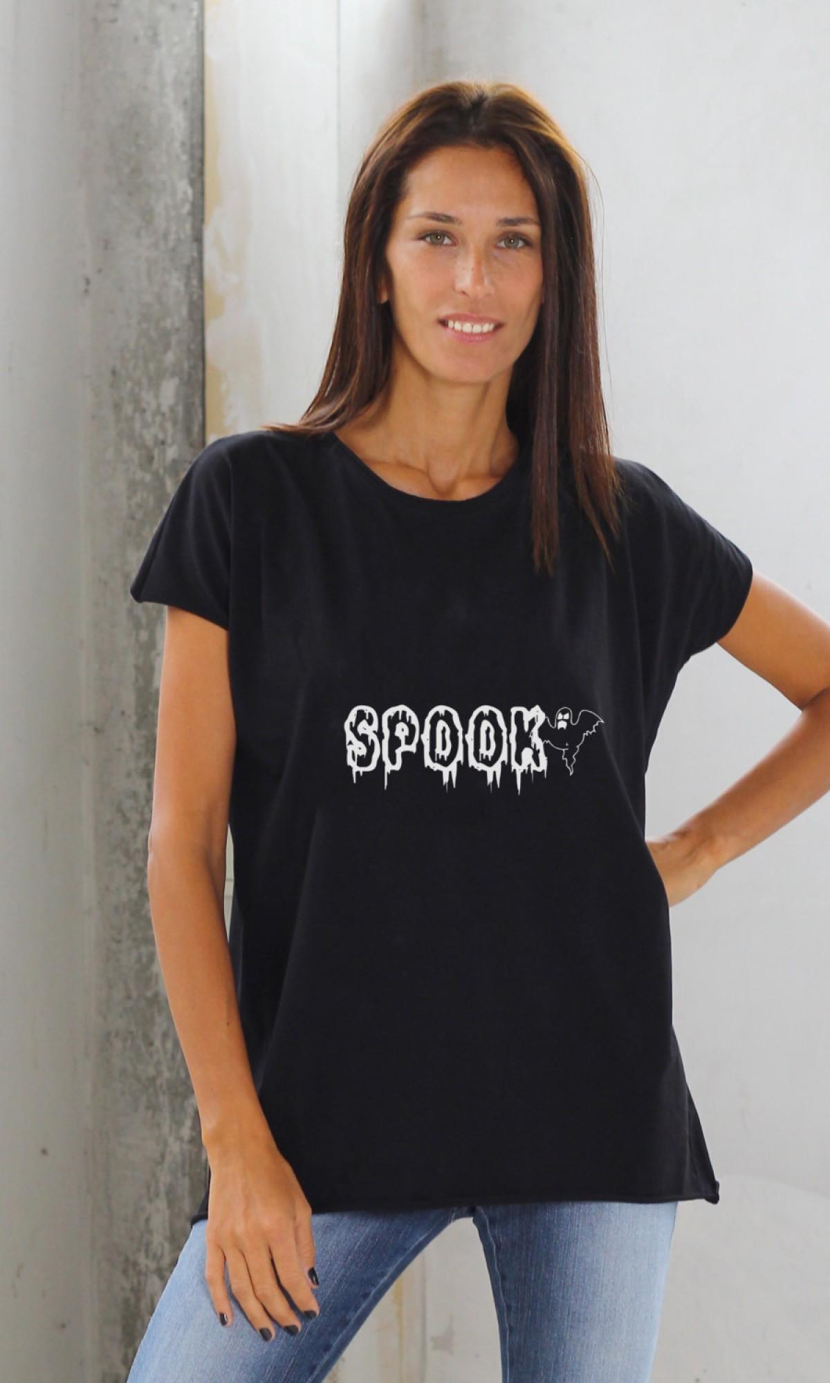 Black Short Sleeve Halloween Spooky Print T-shirt