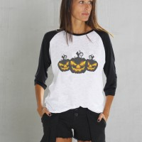 Printees - Halloween Black&White Print Pumpkins T-shirt A224010365