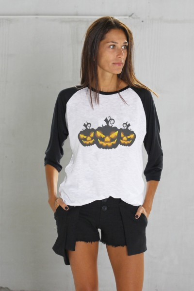 Halloween Black&White Print Pumpkins T-shirt A224010365