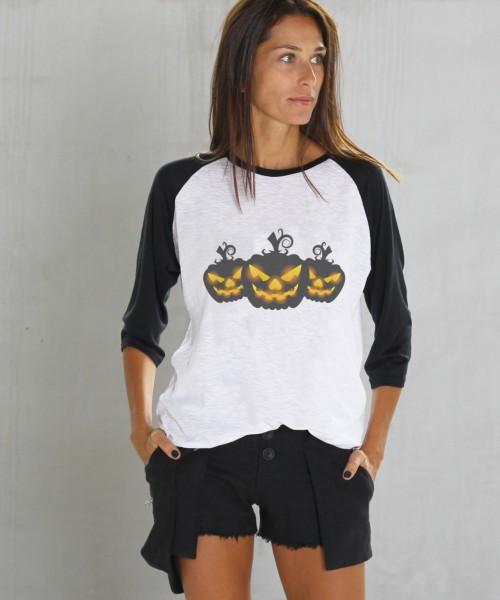 Halloween Black&White Print Pumpkins T-shirt A224010365