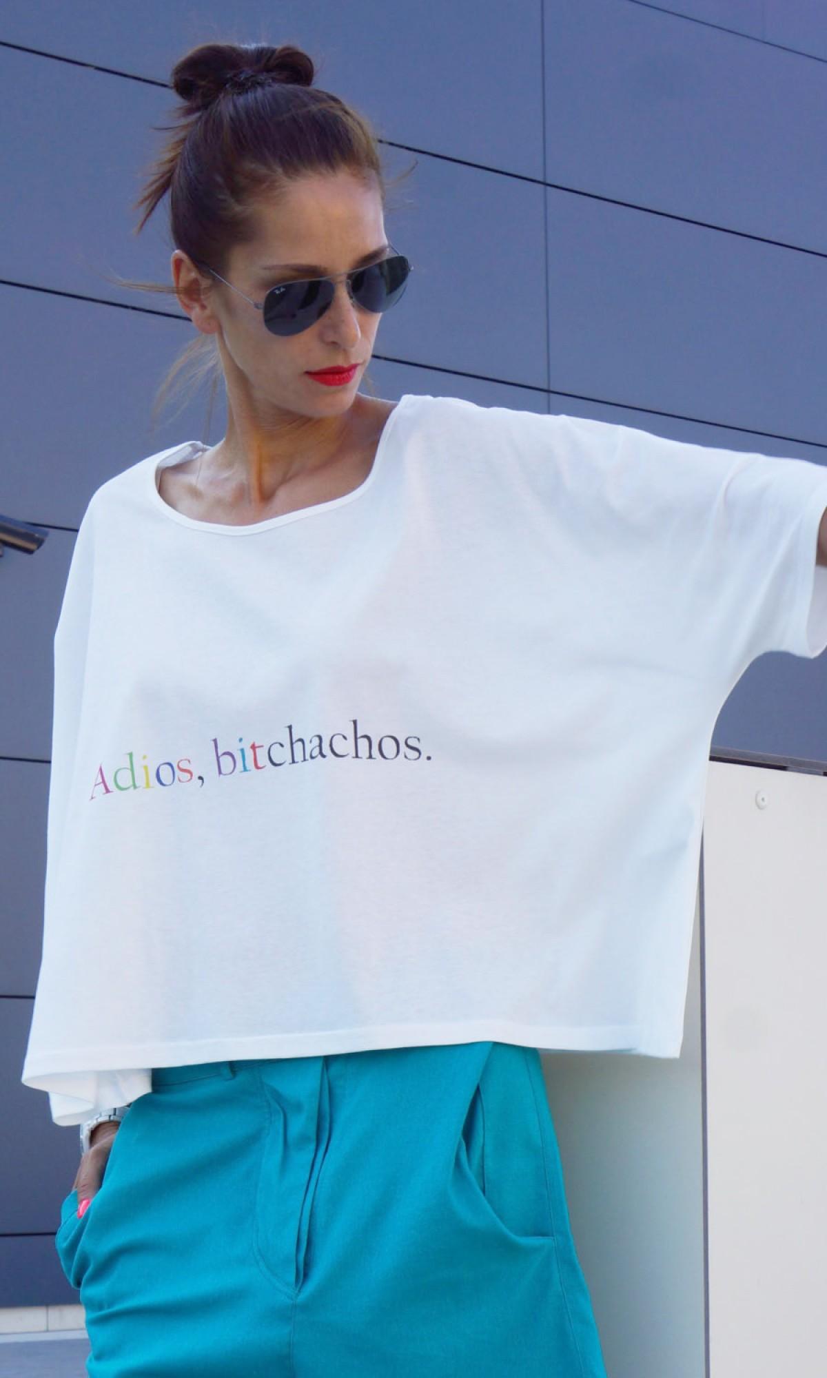 Printees - Loose cream tunic Adios Bitchachos А124080336
