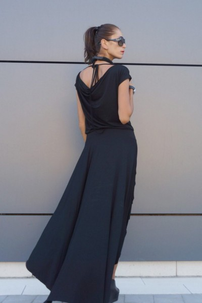 High Low Black Maxi Dress A03474