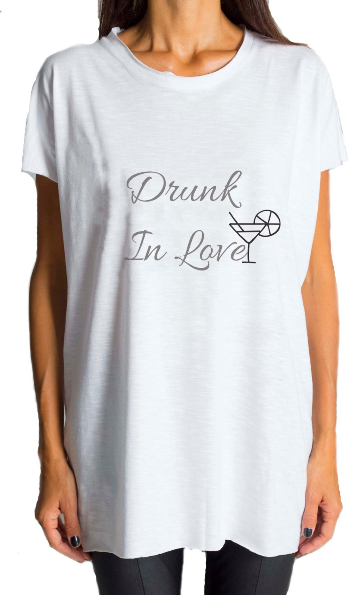 Printees - White T-shirt Drunk in Love A224000125