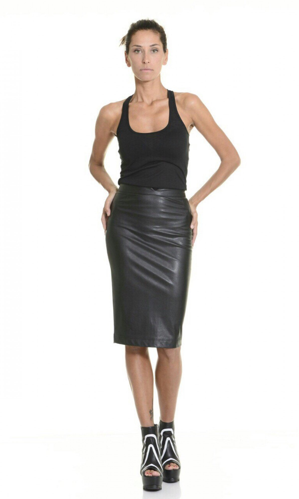 Faux Leather Pencil Skirt A09267