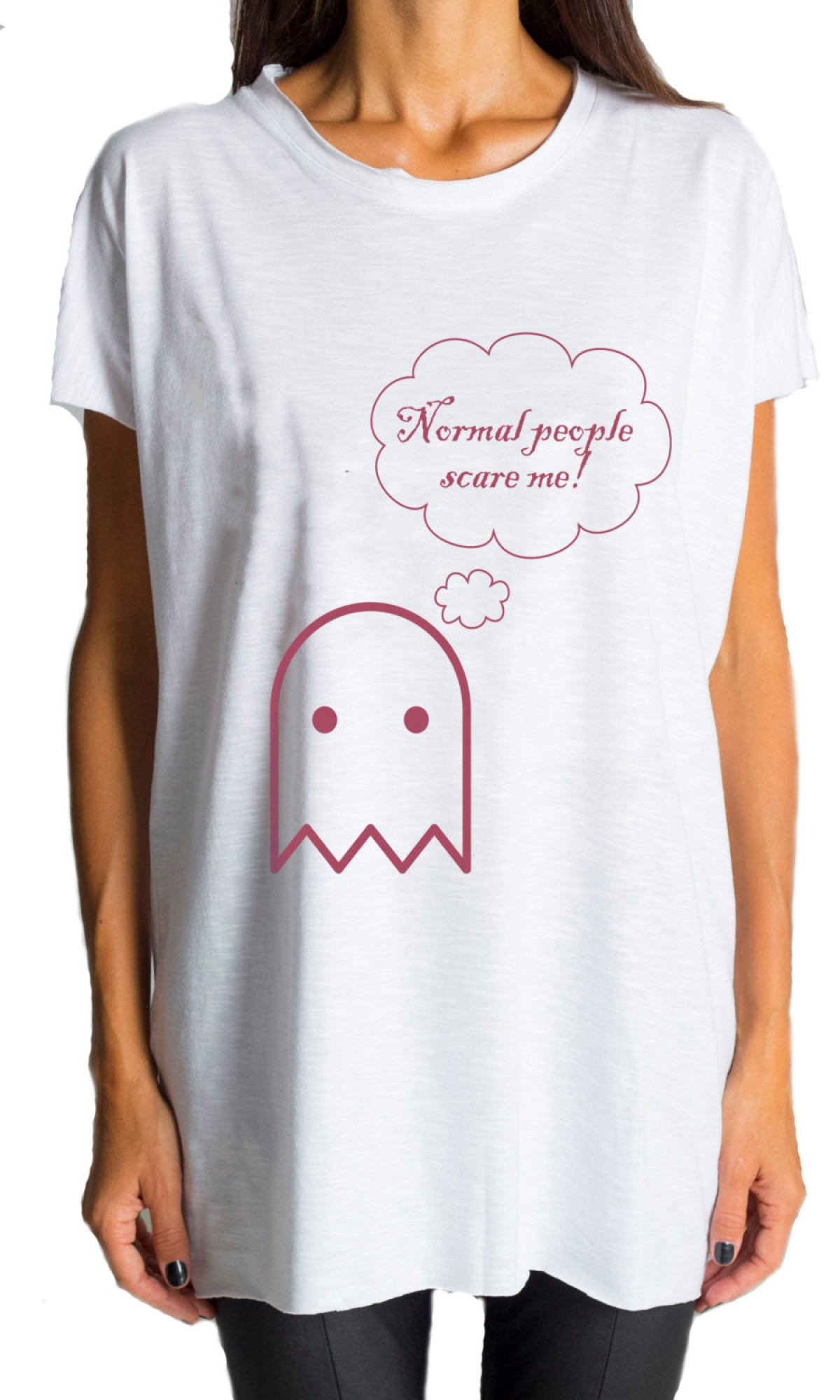 Printees - White T-shirt Normal people scare me A224000281