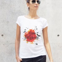 Printees - White Cotton Happy Halloween Print T-shirt A224330366