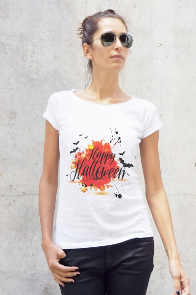 White Cotton Happy Halloween Print T-shirt A224330366