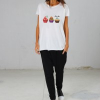 Printees - Light Cream Halloween Cupcake print Tee A224000369