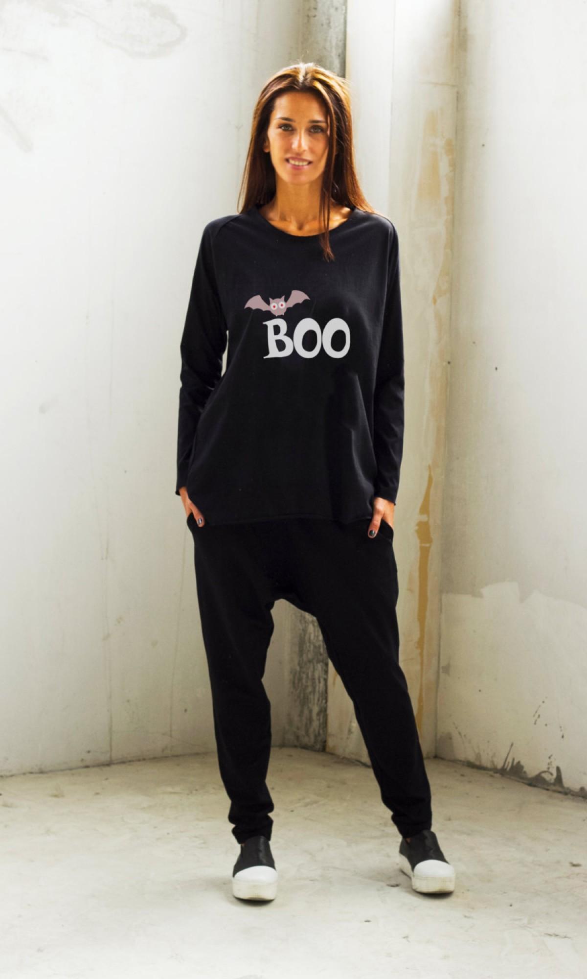 Halloween Boo Print T-shirt